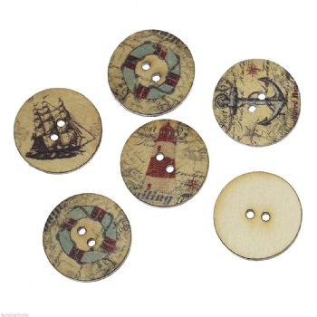 25mm Wood  Assorted  Patterned Nautical Buttons Pack of 10